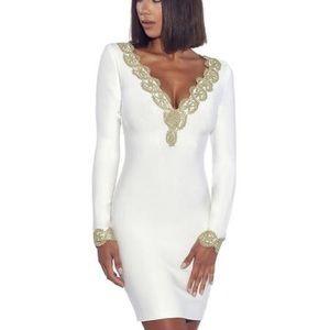 Brand New ⭐️ white crown deep v neck bandage dress